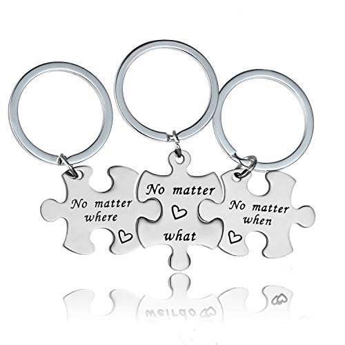 YEEQIN Bset Friend Necklaces for 3 No Matter Where What and When Friendship Gifts for Sisters for 3 (Keychain Style)