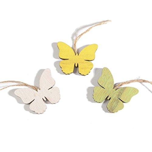 Bellaflor Lot de 24 pendentifs Papillon Jaune/Blanc/Vert 6 cm