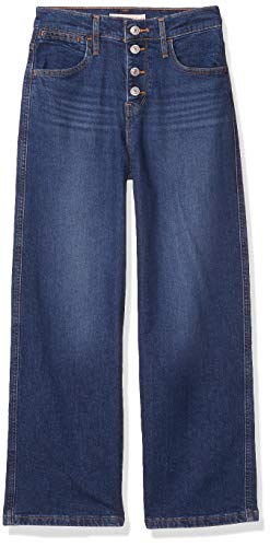Levi's Women's Mile High Wide Leg Buttons Jeans, Sun Devil Heat, 28 (US 6) R