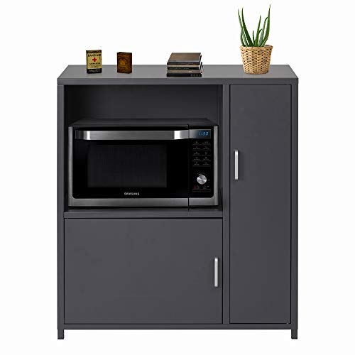 Vilobos Microwave Cabinet Stainless Steel Kitchen Storage Organizer with Shelf and 2 Doors, Dark Gray