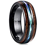 VAKKI Men's Domed Hawaii Wood Engagement Bands 8mm Imitated Opal Tungsten Promise Ring Size 12.5