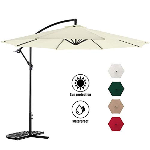 Sonnenschirm im Freien Sonnenschirm 3M hängender Regenschirm freitragender versetzter Regenschirm Einfache Neigungsverstellung Polyesterschirm,Regenschirm mit Sockel für Gartenhinterhof am Pool,weiß