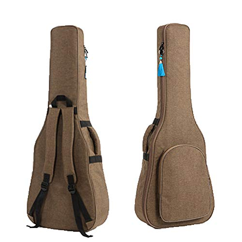 Gitarrentasche SFBBAO Gitarrenhülle Carry Case Rucksack Oxford Akustik Folk Gitarre Gig Tasche Cover Mit Doppel Schulter 97 * 39cm Kaffee