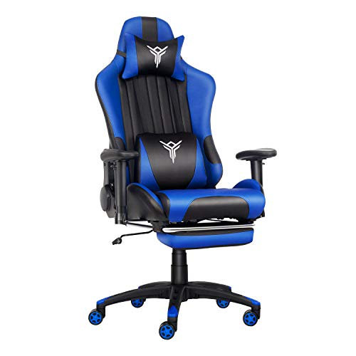 YOURLITEAMZ - Silla de Oficina para Videojuegos con diseño ergonómico, para Ordenador o Escritorio con Masaje Grueso, cojín Lumbar y reposapiés Ajustable (Azul)