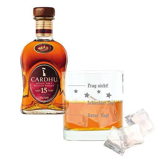 Whiskey 2er Set, Cardhu 15 Years/Jahre, Single Malt, Whisky, Scotch, Alkohol, Alokoholgetränk, Flasche, 40%, 700 ml, 715328, Geschenk zum Vatertag, mit graviertem Glas