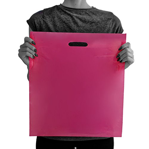 200 Pink Merchandise Bags 16x18-2.00 mil Extra Thick LDPE - Glossy Shopping Plastic Bag Bulk with Die Cut Handle - Large Size - 100% Recyclable - TOP Rated