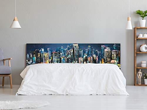 Cabecero Cama Cartón Ecológico Nido de Abeja Imitación Ciudad de Noche en Óleo Impresión Digital 90x60 cm   Varias Medidas   Cabecero Ligero, Elegante, Resistente y Económico  