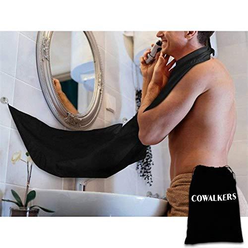 CoWalkers Beard Catcher, Delantal de Afeitar Afeitado de Tela con Dos ventosas, Delantal Beard Catcher Beard Cape para Afeitar, Recorte...