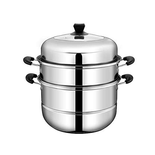 SHBV Olla de Vapor Multiusos Olla de Sopa de Acero Inoxidable Ollas de Cocina universales para Cocina de inducción Estufa de Gas con Tapa de Vidrio y Asas de baquelita (tamaño: 32 cm)