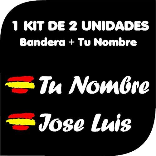 Pegatina Vinilo Bandera España + tu Nombre - Bici, Casco, Pala De Padel, Monopatín, Coche, Moto, etc. Kit de Dos Vinilos (Blanco): Amazon.es: Coche y moto