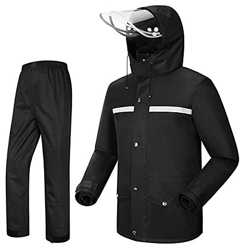 iCreek Rain Suit Jacket & Trouser Suit Raincoat Unisex Outdoor Waterproof Anti-storm (XXL-USA, Black)
