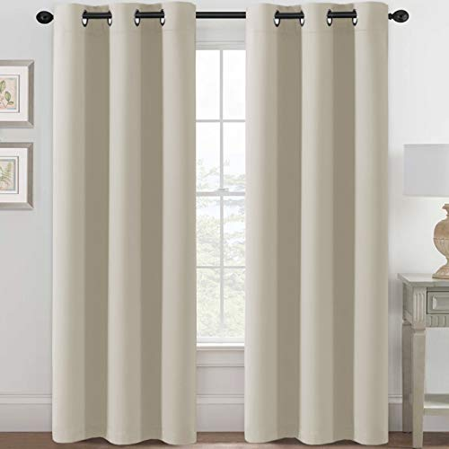 H.VERSAILTEX Blackout Curtains for Bedroom Thermal Insulated Room Darkening Living Room Curtains 84 Inch Long Grommet Privacy Protection Window Curtain Panels/Drapes for Nursery, 2 Panels, Cream