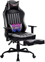 KBEST Massage Gaming Chair - High Back Racing PC Computer Desk Office Chair Swivel Ergonomic Executive Leather Chair with Adjustable Back Angle, Armrests and Footrest, Gray/Black