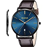 OLEVS Ultra Thin Minimalist Big Face Dark Brown Leather Dress Watches for Men Classic Waterproof,Slim Simple Casual Royal Blue Dial Black Bezel Gold Hands Analog Quartz Date Wristwatch with Band Strap