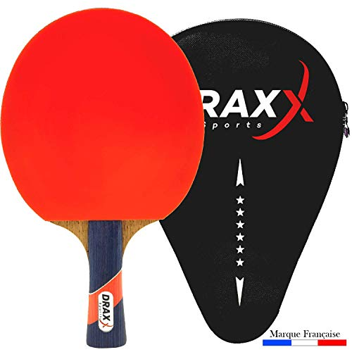 DRAXX Sports table tennis bat | intermediate / advanced player | reinforced protective cover | for beginner & PRO players | 6 star grade | training and competition | carbon kit paddle premium rubber
