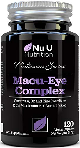 Macu Eye Supplement 120 Vegan Capsules, 4 Month Supply with Lutein, Zeaxanthin, Bilberry Extract, Beta Carotene & Eye Vitamins A, B2 & E Plus Zinc for Maintenance of Normal Vision, Made in The UK
