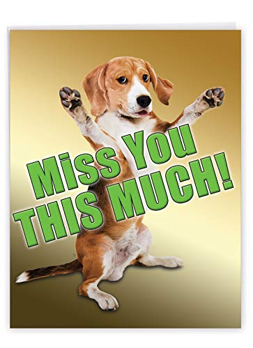 NobleWorks - Jumbo I Miss You Card with Envelope (8.5 x 11 Inch) - Thinking of You Greeting Card, Pet Dog - Miss You This Much Dog J2232MYG