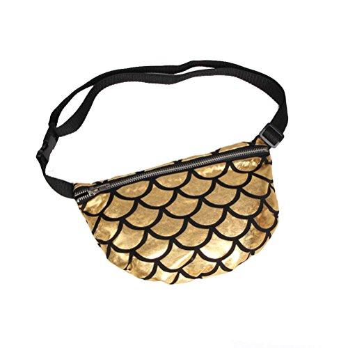 Tinksky Sac à bandoulière multifonctionnel à l'épreuve des poissons Maquillage cosmétique Fanny Pack Sac à bandoulière sportive décontracté cadeau de Noël pour femme (jaune)