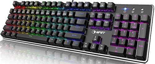 NPET K20 Mechanical Gaming Keyboard, Wired Backlit Keyboard with Red Switches, Customizable RGB Lighting, Ergonomic Standard Keyboard for Desktop, Computer, PC (104 Keys, Black)