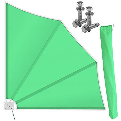 Kesser® Balkonfächer klappbar mit Wandhalterung | 140x140cm | Sichtschutz Balkon Windschutz | Balkonsichtschutz | Seitenmarkise | witterungsbeständig | inkl. Montagematerial | (Grün)