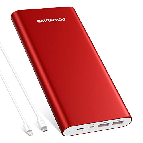 POWERADD Pilot 4GS Plus 20000mAh Portable Charger, 8-Pin & Micro Input 3.6A Power Bank for iPhone, iPad, Samsung, LG and More - Red (8-Pin and Micro Cable Included)