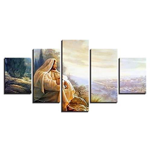 WWMJBH Leinwand Hd Drucke Gemälde Modulare Wandkunst Ruhm Zu Gott Bilder 5 Stück Jesus Christus Poster Home Decor Wohnzimmer5 Leinwandbilder Bild Wanddeko Wand Wohnzimmer Wanddekoration 200X100CM