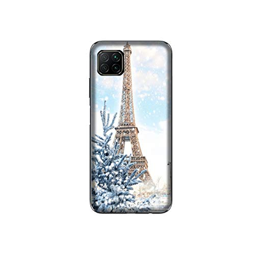 Desconocido Funda P40 Lite Carcasa Huawei P40 Lite Torre Eiffel con Nieve/Cubierta Imprimir también en los Lados/Cover Antideslizante Antideslizante Antiarañazos Resistente a Golpes Protectora Rígida