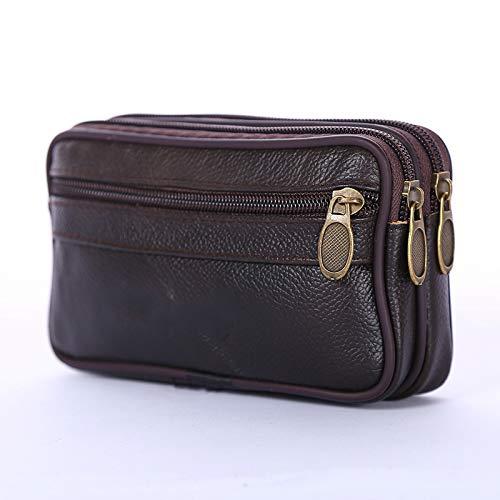 SIMEISM Durable Pack Monedero Hombre Cuero Suave Impermeable Casual Teléfono Móvil Hombre Cintura Packs Bolsa Billfold