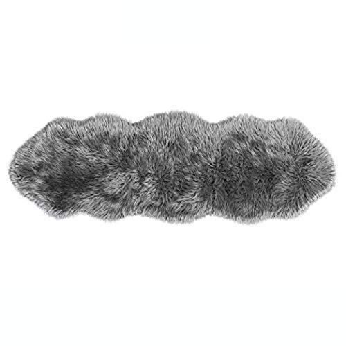 Lammfell-Teppich Kunstfell Schaffell Imitat | Wohnzimmer Schlafzimmer Kinderzimmer | Als Faux Bett-Vorleger oder Matte für Stuhl Sofa (Dunkelgrau, 55 x 160 cm)