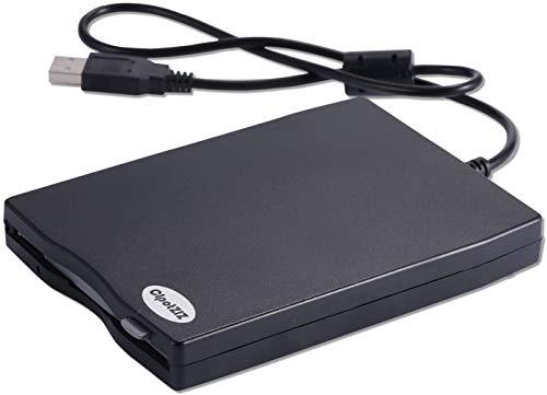 USB-Diskette, 8,9 cm (3,5 Zoll), externes USB-Diskettenlaufwerk, tragbar, 1,44 MB FDD für PC, kompatibel mit Windows 7/8/10, XP, Vista sowie mit Mac, schwarz
