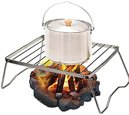 Parrilla de barbacoa plegable de acero inoxidable, parrilla de carbón de leña, barbacoa portátil para ahumar, para cocinar al aire libre, camping, senderismo, picnics