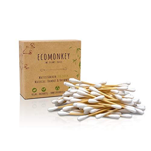 Bambus Wattestäbchen in ✮ Premium Qualität ✮ Plastikfrei ✮ Biologisch Abbaubar ✮ Vegan ✮ Kompostierbar ✮ Nachhaltig ✮ Umweltfreundlich ✮ 2er Pack mit 200 Stück ECOMONKEY®