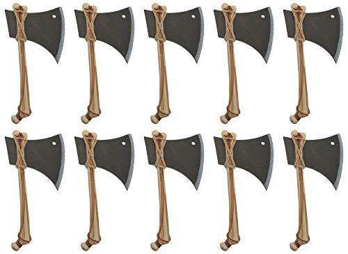 Knochen Axt zum Halloween Kostüm - 10er-Set - Spielzeug Waffe Wikinger Mittelalter Steinzeit Henker