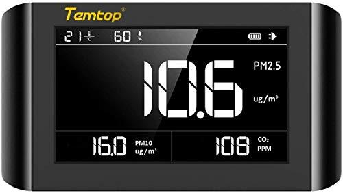 Luftqualität Messgerät-Hydrometer Feuchtigkeit Temperatur und Luftfeuchtigkeitsmesser Feinstaubmessgerät Digitales Detektor【3 Jahre Garantie】 CO2 PM2.5 PM10 TEMP Tester