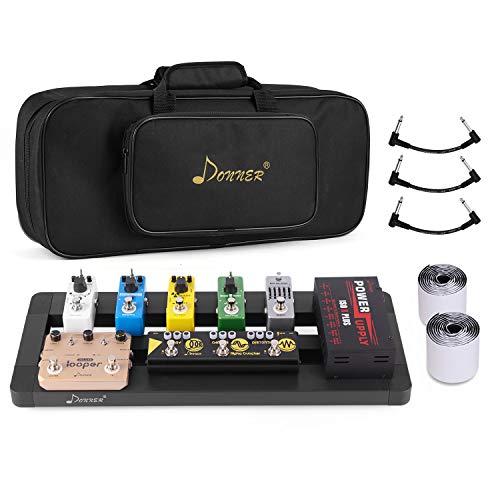 Donner Gitarre Pedal Board Case DB-4 Aluminium Pedalboard mit Tasche, Gitarren Effektboard
