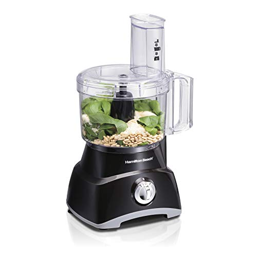 Hamilton Beach 8-Cup Compact Food Processor & Vegetable Chopper for Slicing, Shredding, Mincing, and puree, 450 Watts, Black (70740)