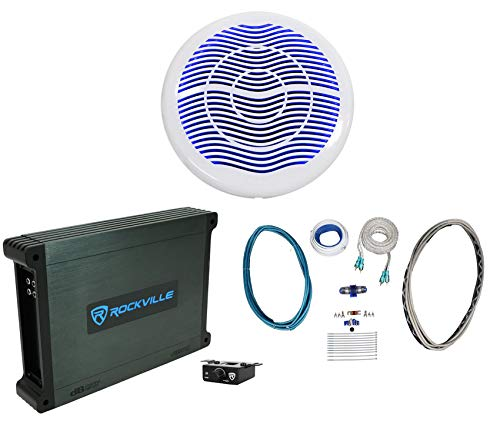 Rockville MS10LW 10' 2400w White Marine/Boat 10' LED Free Air Subwoofer+Mono Amp+Wire Kit
