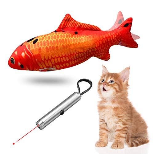 ShengRuHai Katzen Spielzeug Set, Elektrische Fische Katze, LED Pointer für Katzen, Katzespielzeug LED Licht Pointer, Katze elektrische Fische, Simulation Fisch,Katze interaktive Spielzeug(2pcs)