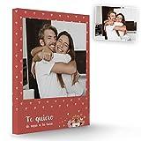 Fotoprix Lienzo para Parejas Personalizado con Foto y Texto | Regalo Día de los Enamorados | San Valentín | Varios diseños y tamaños (Corazón, 50 x 70 cms)