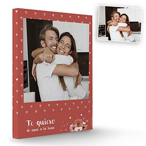 Fotoprix Lienzo para Parejas Personalizado con Foto y Texto   Regalo Día de los Enamorados   San Valentín   Varios diseños y tamaños (Corazón, 30 x 40 cms)