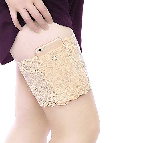 BLAZOR Oberschenkelbänder Elastisch, Damen Oberschenkelband Sexy Lace Schenkel Band Socken Oberschenkel Bandage Anti-chafing Anti-rutsch Silikon Bänder(Beige,S:47-55cm