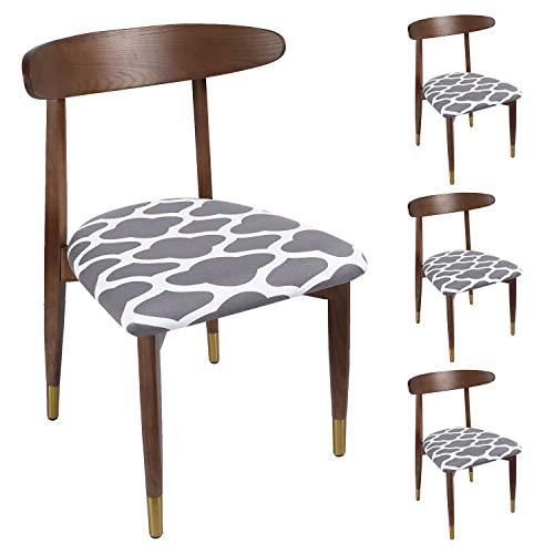 Qishare - Juego de 4 Fundas de Asiento para sillas de Comedor Impresas con Lazos, súper Ajuste, elásticas, universales, Lavables, Protectores de Cojines para Cocina, Oficina(Gris geométrico)