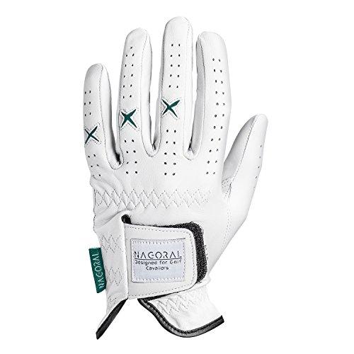NAGORAL Golfhandschuh in Polarweiß mit grünen Elementen – 100% feines Cabretta Schafsleder für EIN perfektes Spielgefühl – für Herren – Links Designed for Golf Cavaliers