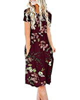 DB MOON Women Summer Casual Short Sleeve Dresses Empire Waist Dress with Pockets (Flower Wine Red, S)