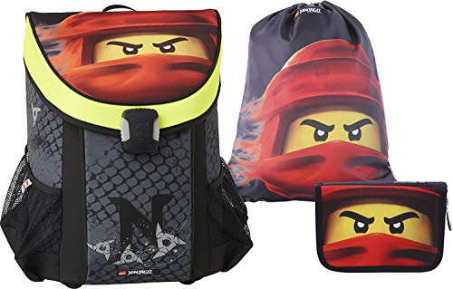 LEGO Bags Schulranzen Set Easy NINJAGO Kai, 3 teilig, Ranzen nur 790 g, Schulranzenset mit Lego Motiv, Büchertasche ca. 39 x 29 x 22 cm, 25 Liter, Ranzenset mit gefüllter Federmappe und Sportbeutel