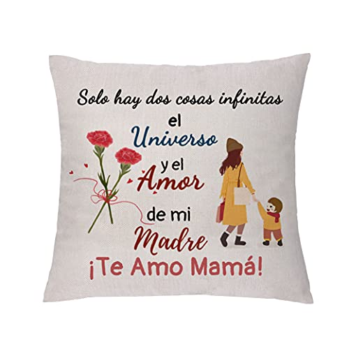 Funda de Almohada para mamá Regalo de cumpleaños para mamá Recuerdos Decorativos para el hogar Regalo de Acción de Gracias de Navidad Funda de cojín para el día de Las Madres Te Quiero Mamá (Tipo 4)