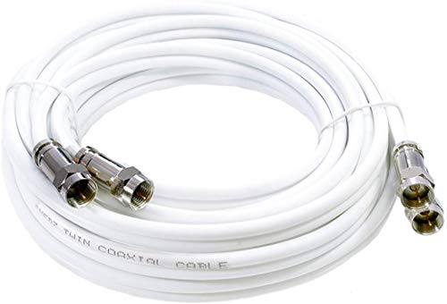 MAST DIGITAL YCAB03K1 Smedz 5 m Twin Satellite Shotgun Coax Cable Extension Kit with Premium Fitted Compression F Connectors for Sky Q, Sky HD, Sky+ and Freesat - White
