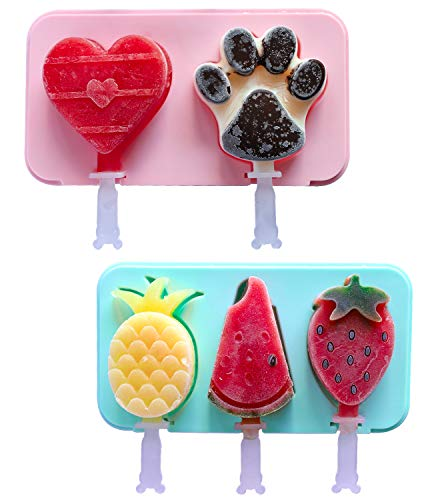 Lamapee Ice Lolly Moulds, Set of 2 Ice Lolly Moulds Silicone for Childrens, with 6 Sticks