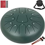 Happybuy Steel Tongue Drum 13 Notes 12 Inches Dia Tongue Drum Green Handpan Drum Notes Percussion Instrument Steel Drums Instruments with Bag, Music Book, Mallets,Mallet Bracket