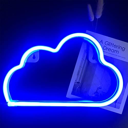 Cloud-Neonzeichen Helle Wolke Neon-Nachtlicht Wolke Shaped Neonzeichen Batterie oder USB-Powered LED Nacht Neon-Lampen Wolke Wandleuchten für Kinderzimmer Schlafzimmer Weihnachten Hochzeit Dekor (bla